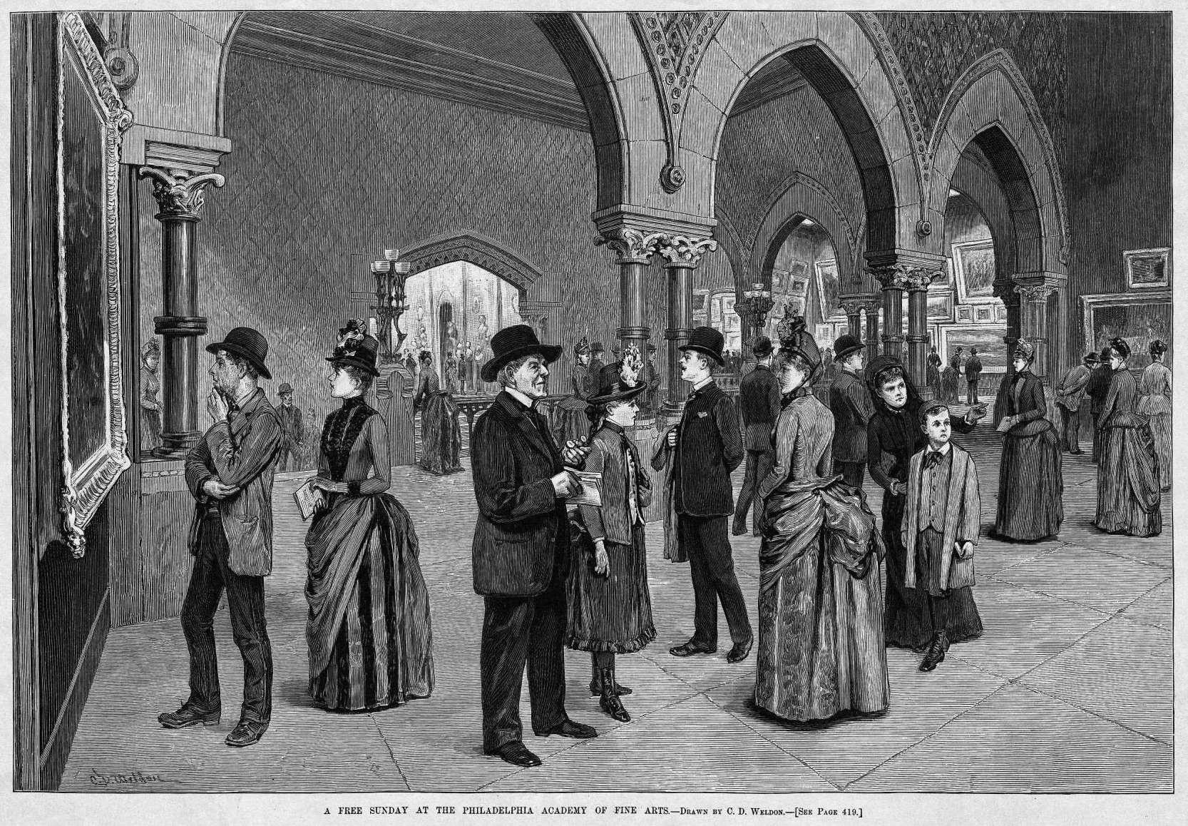 C. D. Weldon, A Free Sunday at the Philadelphia Academy of Fine Arts, Wood engraving published in Harper's Weekly, June 11, 1887